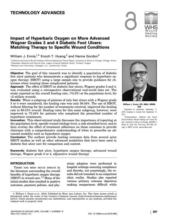 Download Impact of Hyperbaric Oxygen on More Advanced Wagner Grades 3 and 4 Diabetic Foot Ulcers: Matching Therapy to Specific Wound Conditions